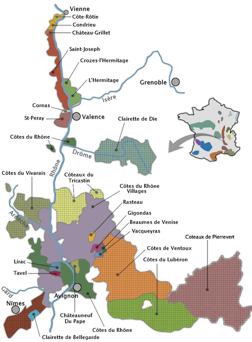 Carte vignoble vallee du rhone